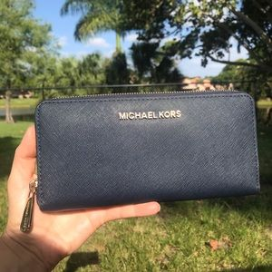 Michael Kors Navy Blue Zip Around Wallet